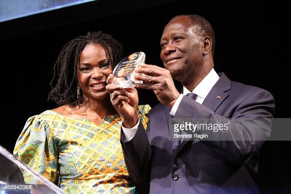 President CEO Amini Kajunju and Ivory Coast President Alassane Ouattara speak during the 30th Annual Awards Gala hosted by The AfricaAmerica...