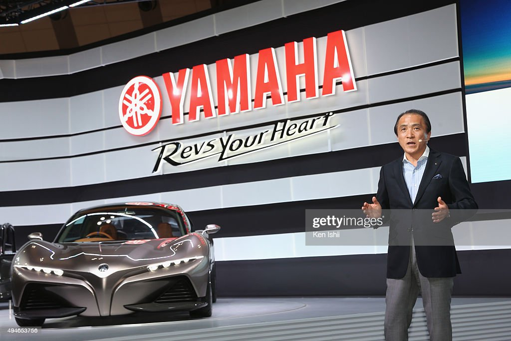 President, CEO and Representative Director of Yamaha Motor Co., LTD <a gi-track='captionPersonalityLinkClicked' href=/galleries/search?phrase=Hiroyuki+Yanagi&family=editorial&specificpeople=2322752 ng-click='$event.stopPropagation()'>Hiroyuki Yanagi</a> unveils the SPORTS RIDE CONCEPT at the Yamaha booth during the Tokyo Motor Show 2015 at Tokyo Big Sight on October 28, 2015 in Tokyo, Japan. The Yamaha booth displays a 20-model array of concept and production models, including six world premiere models and one Japan premiere model.