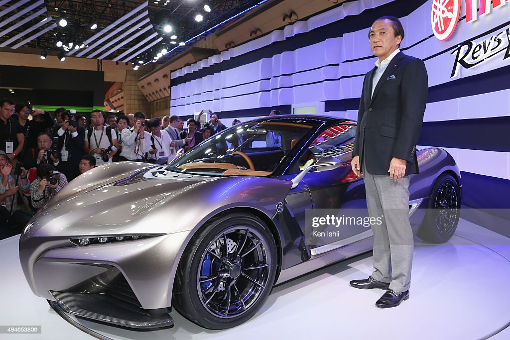 President, CEO and Representative Director of Yamaha Motor Co., LTD Hiroyuki Yanagi unveils the SPORTS RIDE CONCEPT at the Yamaha booth during the Tokyo Motor Show 2015 at Tokyo Big Sight on October 28, 2015 in Tokyo, Japan. The Yamaha booth displays a 20-model array of concept and production models, including six world premiere models and one Japan premiere model.
