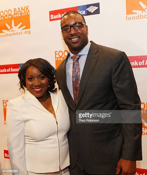 President CEO at Food Bank Margarette Purvis and NFL football player Chris Canty attend the Food Bank For New York City Can Do Awards Dinner Gala at...