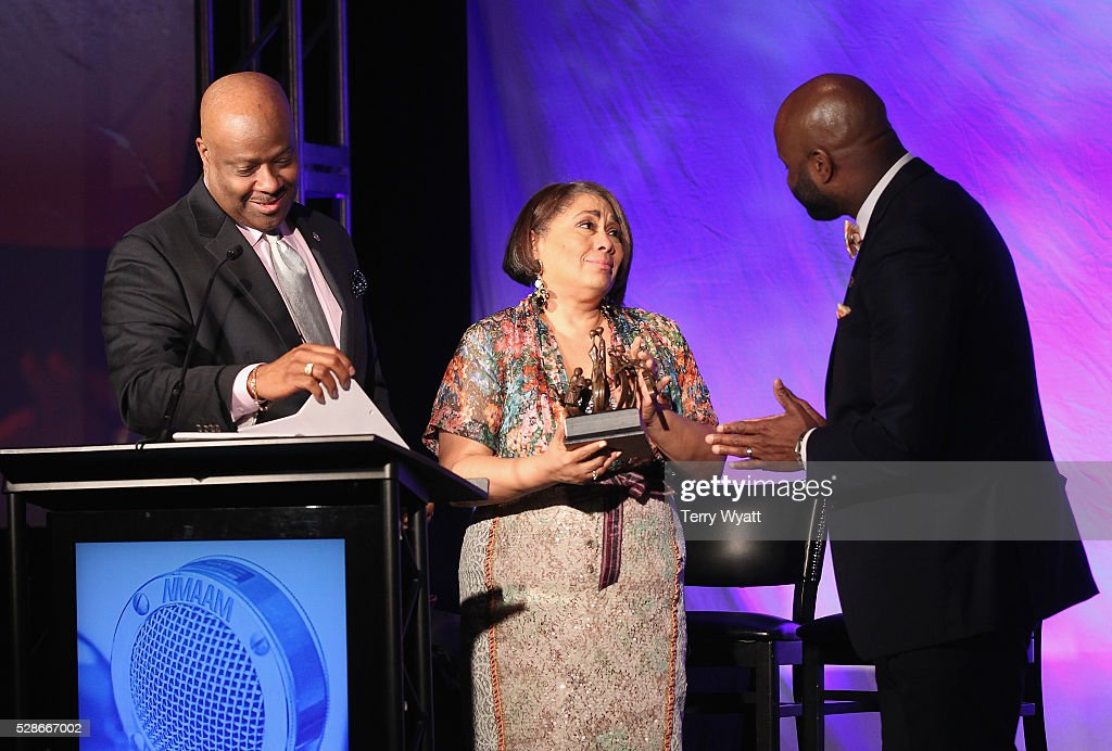 President & CEO at National Museum of African American Music H. Beecher Hicks III, Dyana Williams, and Shannon Sanders onstage during NMAAM's Celebration Of Legends Red Carpet And Luncheon on May 6, 2016 in Nashville, Tennessee.