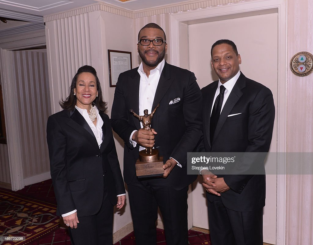 President CEO Della Britton Baeza Tyler Perry and Chairman Gregg Gonsalves attend the Jackie Robinson Foundation Awards Dinner at Waldorf Astoria...