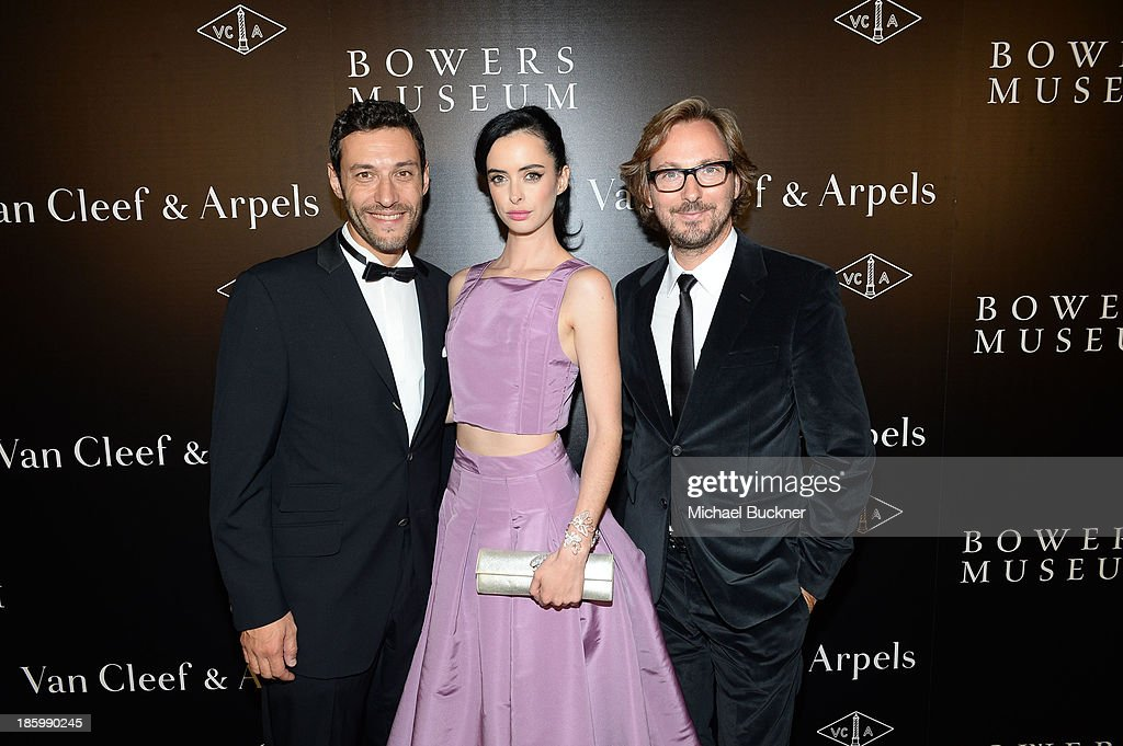 President & CEO of Americas at Van Cleef & Arpels Alain Bernard, actress Krysten Ritter and Nicolas Bos, Global CEO and Creative Director at Van Cleef & Arpels attend A Quest for Beauty: The Art Of Van Cleef & Arpels - Red Carpet at The Bowers Museum on October 26, 2013 in Santa Ana, California.