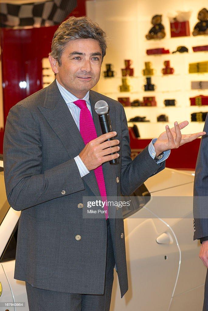 President & CEO of Ferrari North America Marco Mattiacci attends Fabrizio Sotti's 'Right Now' Album Listening Party at the Ferrari Corporate Showroom Of New York on May 2, 2013 in New York City.