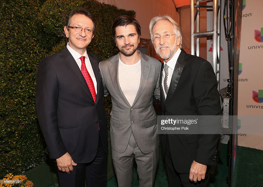 President & CEO of the Latin Academy of Recording Arts & Sciences, Gabriel Abaroa, singer Juanes and President of the National Academy of Recording Arts and Sciences, Neil Portnow attend the 15th Annual Latin GRAMMY Awards at the MGM Grand Garden Arena on November 20, 2014 in Las Vegas, Nevada.