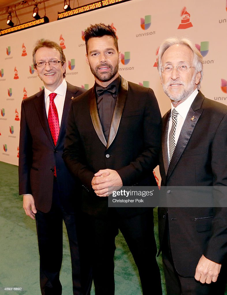 President & CEO of the Latin Academy of Recording Arts & Sciences, Gabriel Abaroa, singer Ricky Martin and President of the National Academy of Recording Arts and Sciences, Neil Portnow attend the 15th Annual Latin GRAMMY Awards at the MGM Grand Garden Arena on November 20, 2014 in Las Vegas, Nevada.