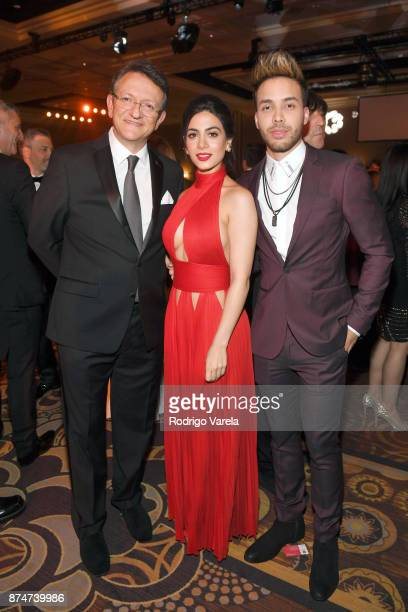 President CEO of the Latin Academy of Recording Arts Sciences Gabriel Abaroa Emeraude Toubia and Prince Royce attend the 2017 Person of the Year Gala...