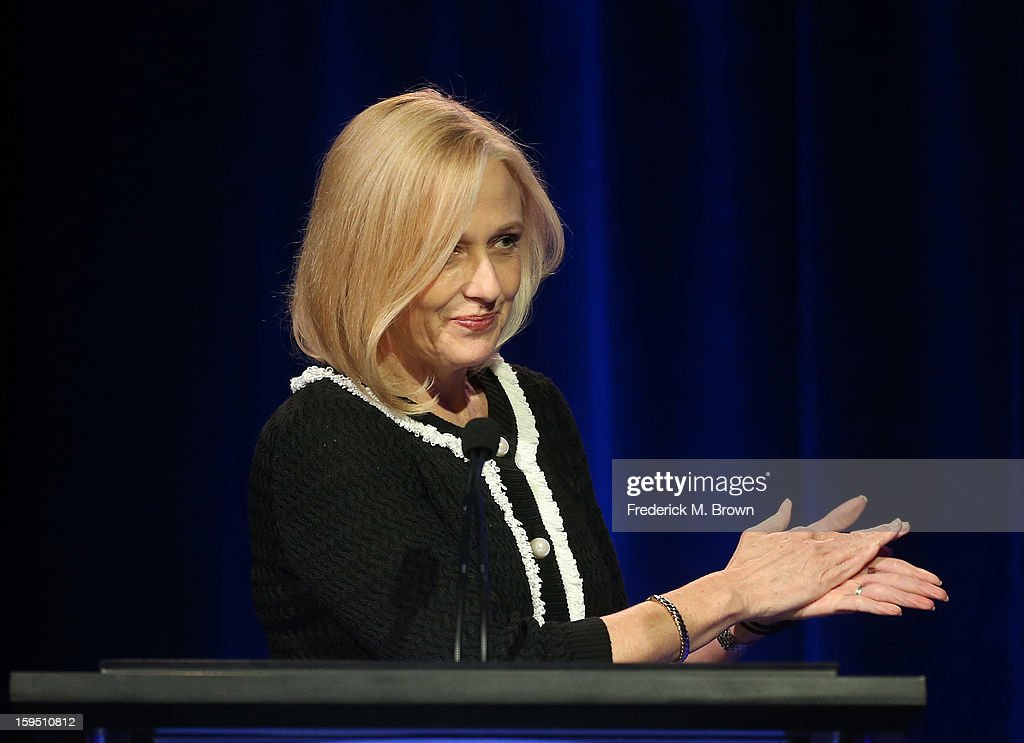 President & CEO Paula Kerger speaks onstage at 'LIVE From Lincoln Center' featuring a performance by new series host and five-time Tony winner Audra McDonald at the PBS portion of the 2013 Winter Television Critics Association Press Tour at the Langham Huntington Hotel & Spa on January 14, 2013 in Pasadena, California.