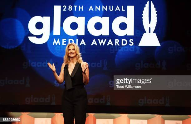 President CEO Sarah Kate Ellis speaks onstage during the 28th Annual GLAAD Media Awards in LA at The Beverly Hilton Hotel on April 1 2017 in Beverly...