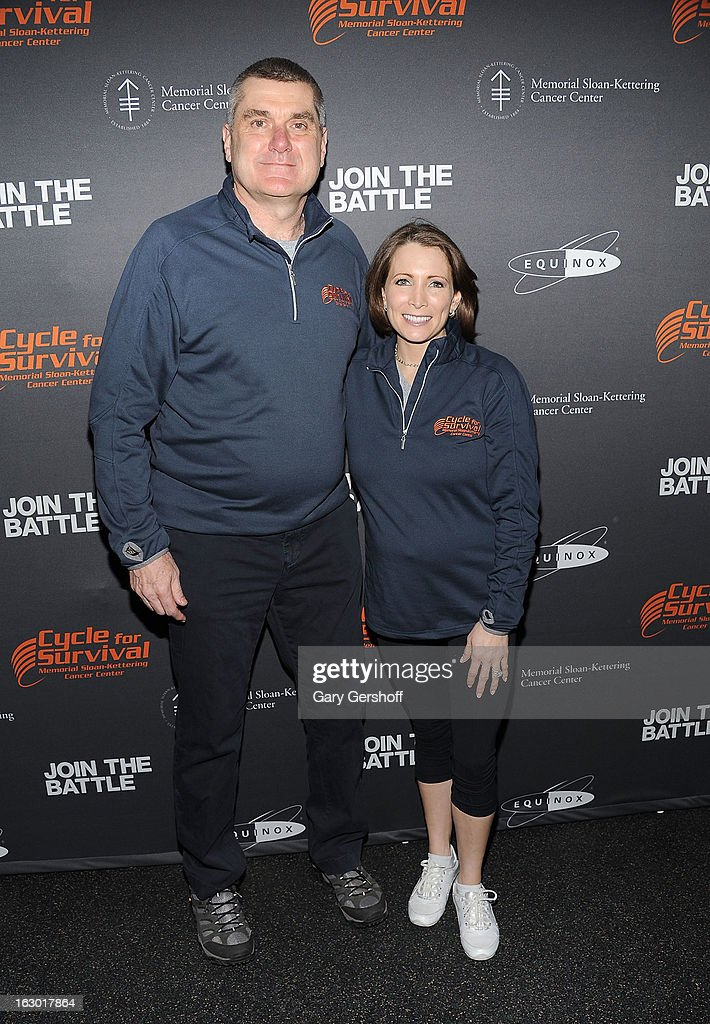 President & CEO, Sloan-Kettering Cancer Center, Dr. Craig Thompson (L) and U.S. Olympic medalist <a gi-track='captionPersonalityLinkClicked' href=/galleries/search?phrase=Shannon+Miller&family=editorial&specificpeople=4493828 ng-click='$event.stopPropagation()'>Shannon Miller</a> attend the 2013 Cycle For Survival Benefit at Equinox Rock Center on March 3, 2013 in New York City.