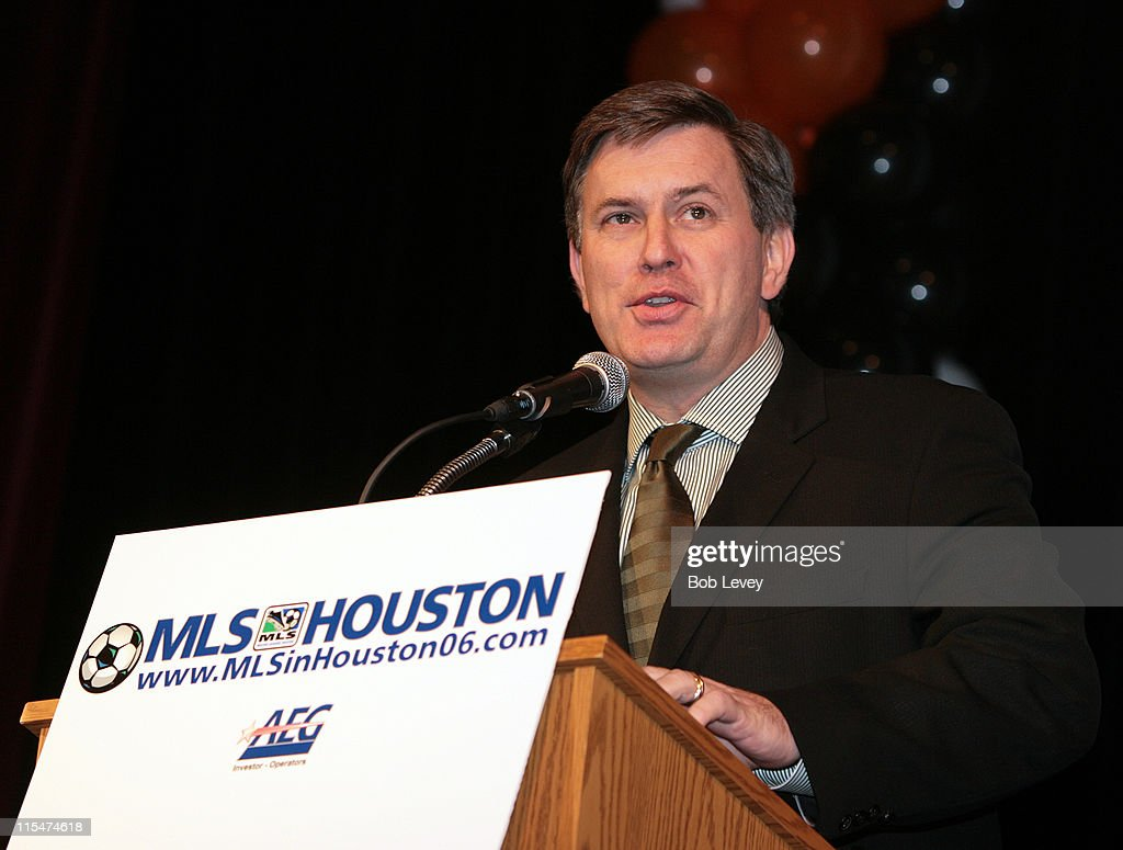 AEG President & CEO <a gi-track='captionPersonalityLinkClicked' href=/galleries/search?phrase=Tim+Leiweke&family=editorial&specificpeople=676996 ng-click='$event.stopPropagation()'>Tim Leiweke</a> addresses the crowd and media as team and league officials unveiled the teams name, logo an colors which pay tribute to the city and fans at Lanier Middle School, January 25, 2006 in Houston, Texas.