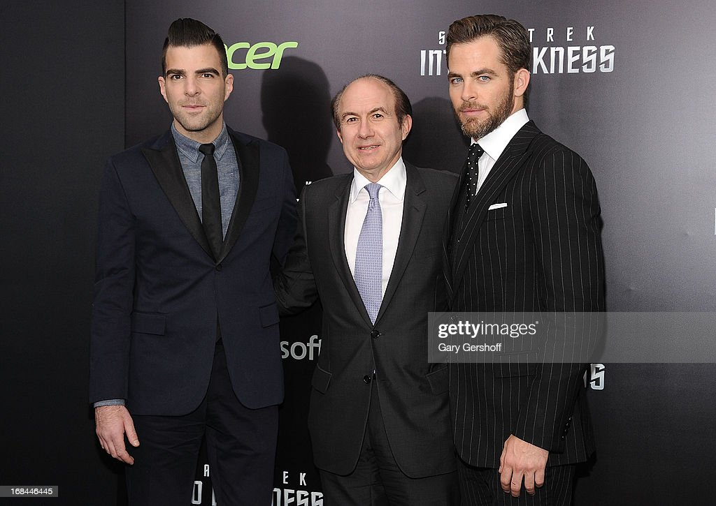President & CEO, Viacom, Philippe Dauman (C) and actors Zachary Quinto (L) and Chris Pine attend the 'Star Trek Into Darkness' screening at AMC Loews Lincoln Square on May 9, 2013 in New York City.
