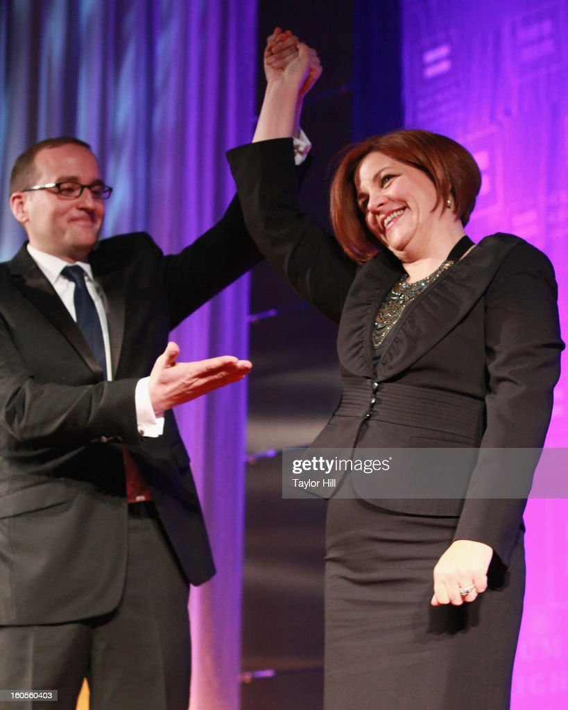 President Chad Griffin endorses City Council Speaker <a gi-track='captionPersonalityLinkClicked' href=/galleries/search?phrase=Christine+Quinn&family=editorial&specificpeople=550180 ng-click='$event.stopPropagation()'>Christine Quinn</a> for mayor at The 2013 Greater New York Human Rights Campaign Gala at The Waldorf=Astoria on February 2, 2013 in New York City.