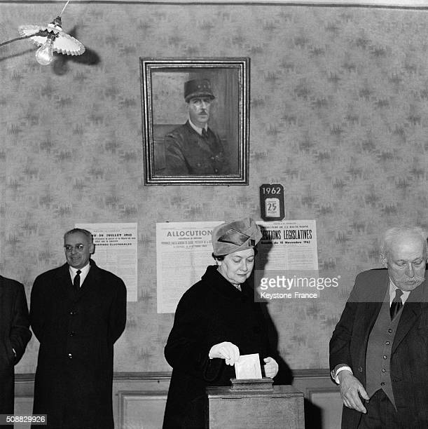 President Charles De Gaulle's Wife Yvonne De Gaulle Vote For The General Election in ColombeylesDeuxEglises France on November 25 1962