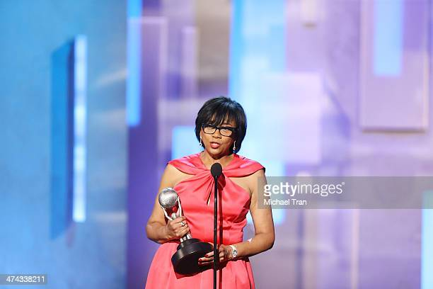 President Cheryl Boone Isaacs accepts the Hall of Fame award during the 45th NAACP Image Awards held at Pasadena Civic Auditorium on February 22 2014...