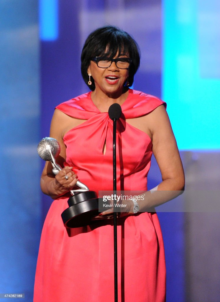 President <a gi-track='captionPersonalityLinkClicked' href=/galleries/search?phrase=Cheryl+Boone+Isaacs&family=editorial&specificpeople=725500 ng-click='$event.stopPropagation()'>Cheryl Boone Isaacs</a> accepts the Hall of Fame award onstage during the 45th NAACP Image Awards presented by TV One at Pasadena Civic Auditorium on February 22, 2014 in Pasadena, California.