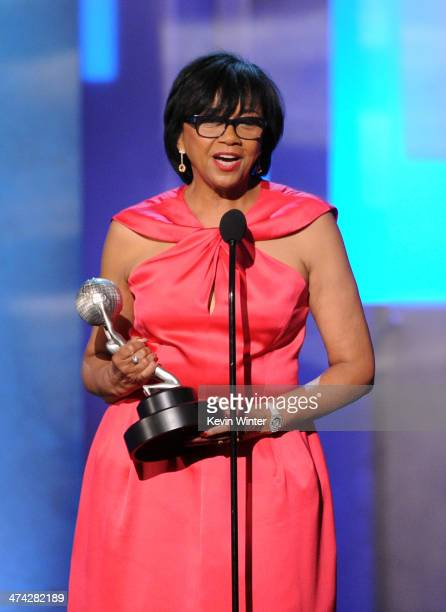 President Cheryl Boone Isaacs accepts the Hall of Fame award onstage during the 45th NAACP Image Awards presented by TV One at Pasadena Civic...