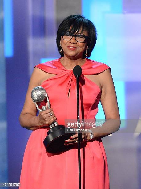 President Cheryl Boone Isaacs accepts the Hall of Fame award onstage during the 45th NAACP Image Awards at Pasadena Civic Auditorium on February 22...