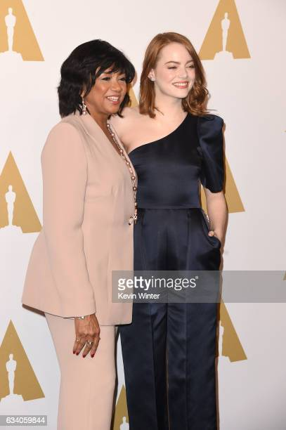 President Cheryl Boone Isaacs and actor Emma Stone attend the 89th Annual Academy Awards Nominee Luncheon at The Beverly Hilton Hotel on February 6...