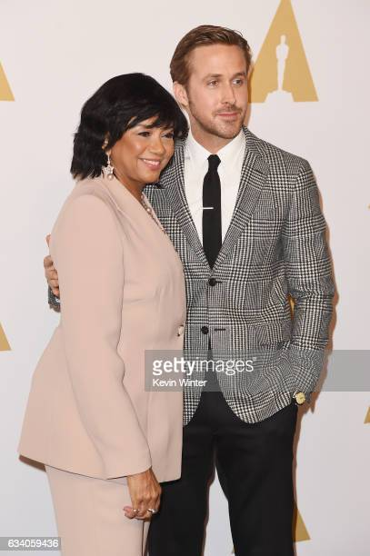 President Cheryl Boone Isaacs and actor Ryan Gosling attend the 89th Annual Academy Awards Nominee Luncheon at The Beverly Hilton Hotel on February 6...