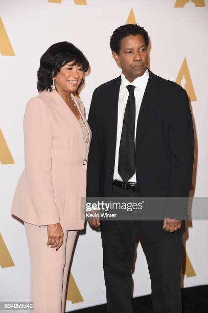 President Cheryl Boone Isaacs and actor/filmmaker Denzel Washington attend the 89th Annual Academy Awards Nominee Luncheon at The Beverly Hilton...