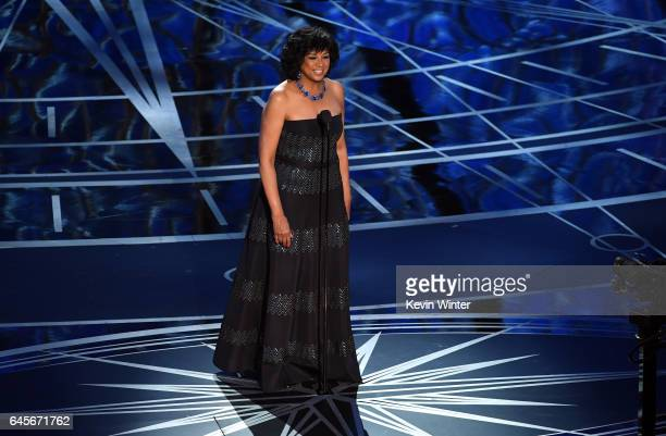 President Cheryl Boone Isaacs speaks onstage during the 89th Annual Academy Awards at Hollywood Highland Center on February 26 2017 in Hollywood...