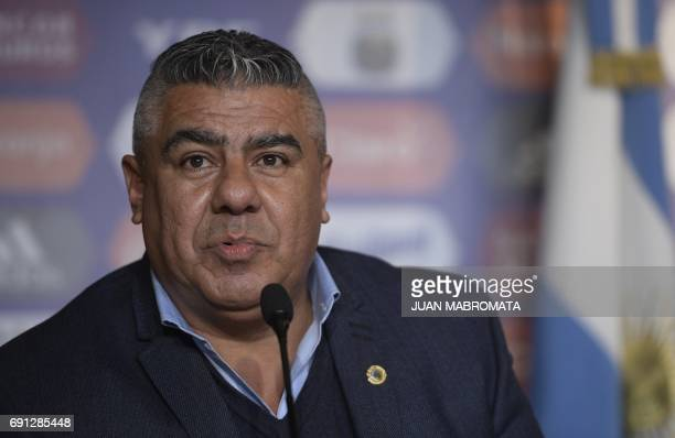 AFA president Claudio Tapia speaks during a press conference presenting Argentina's team new coach Jorge Sampaoli in Ezeiza Buenos Aires Argentina on...