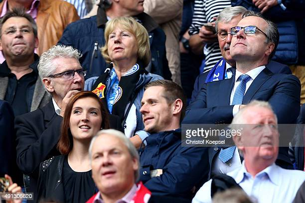 President Clemens Toennies of Schalke looks thoughtful during the Bundesliga match between FC Schalke 04 and 1 FC Koeln at VeltinsArena on October 4...