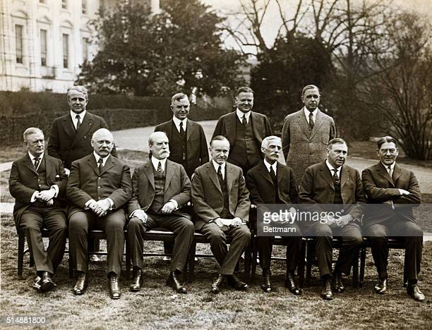 President Coolidge and his cabinet Charles Evans Hughes Secretary of Interior at his right Andrew Mellon Secretary of Treasury at his left Vice...