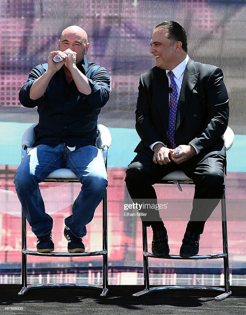 President Dana White (L) and Golden Boy Promotions CEO Richard Schaefer joke around during a groundbreaking for a USD 375 million, 20,000-seat sports and entertainment arena being built by MGM Resorts International and AEG on May 1, 2014 in Las Vegas, Nevada. The arena is scheduled to open in early 2016.