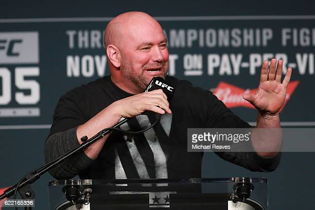 UFC president Dana White answers a question during the UFC 205 press conference at The Theater at Madison Square Garden on November 10 2016 in New...