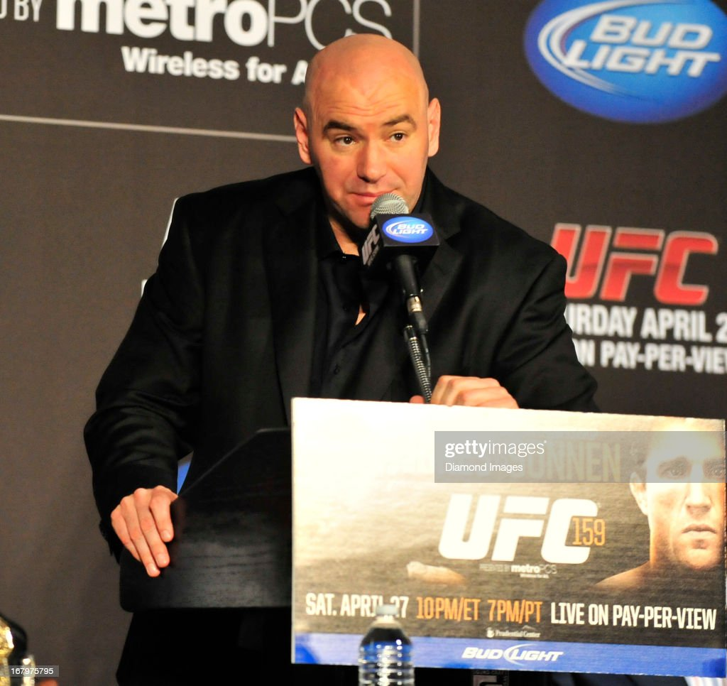 UFC president Dana White answers questions from the media after UFC 159 Jones v. Sonnen at Prudential Center in Newark, New Jersey.