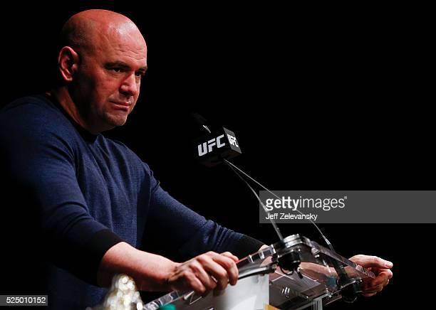 UFC president Dana White appears during a media availability for UFC 200 at Madison Square Garden on April 27 2016 in New York City