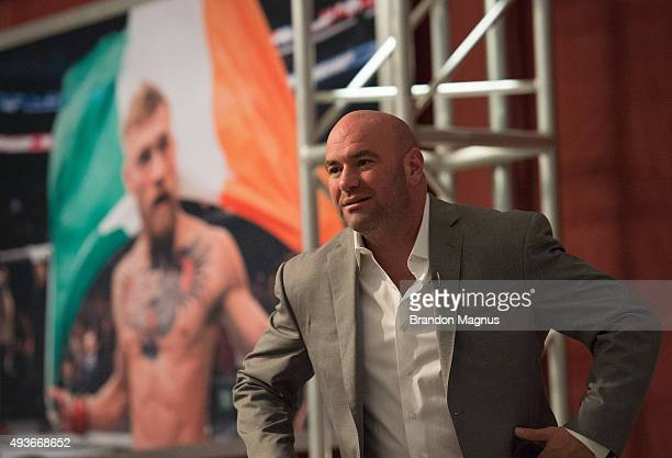 President Dana White arrives to watch Mehdi Baghdad face Julian Erosa during the filming of The Ultimate Fighter Team McGregor vs Team Faber at the...