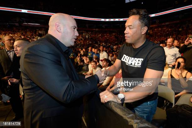 UFC President Dana White greets MLB Hall of Famer and former Toronto Blue Jay player Roberto Alomar at the UFC 165 event at the Air Canada Center on...