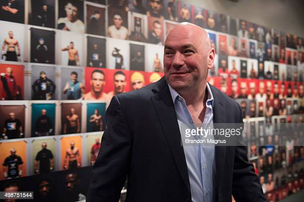 President Dana White heads to the Octagon during the filming of The Ultimate Fighter Latin America Team Gastelum vs Team Escudero on April 21 2015 in...