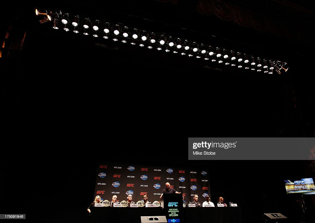 UFC president Dana White hosts a press conference live with UFC heavyweight champion Cain Velasquez, Junior Dos Santos, UFC light heavyweight champion Jon Jones, Alexander Gustafsson, UFC welterweight champion Georges St-Pierre, Johny Hendricks, UFC women's bantamweight champion Ronda Rousey and Miesha Tate at Beacon Theatre on July 31, 2013 in New York City.