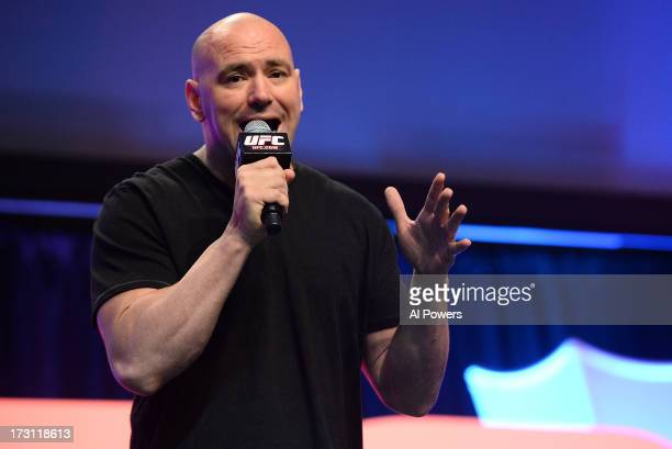 UFC president Dana White inducts Forrest Griffin and Stephan Bonnar into the UFC Hall of Fame during the UFC Fan Expo Las Vegas 2013 at the Mandalay...