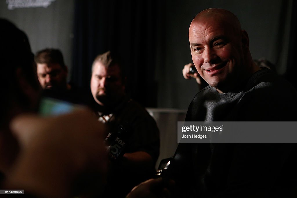 President Dana White interacts with media during UFC 159 media day at The Theater at Madison Square Garden on April 25, 2013 in New York City.