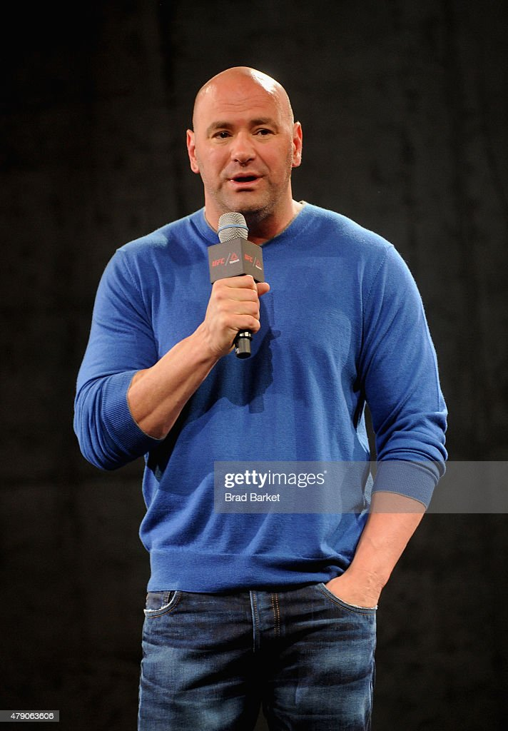 President <a gi-track='captionPersonalityLinkClicked' href=/galleries/search?phrase=Dana+White&family=editorial&specificpeople=977217 ng-click='$event.stopPropagation()'>Dana White</a> speaks the Launch Of The Reebok UFC Fight Kit at Skylight Modern on June 30, 2015 in New York City.