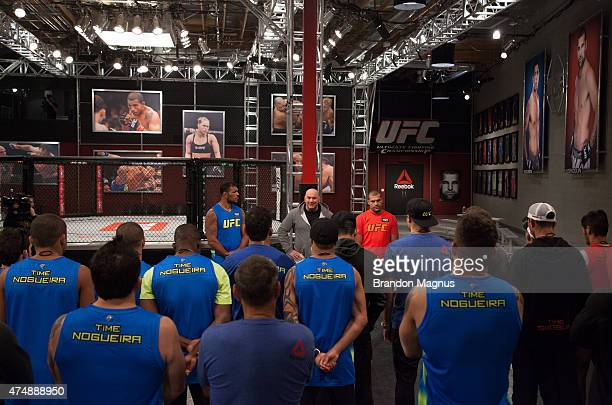President Dana White speaks to the fighters during the filming of The Ultimate Fighter Brazil Team Nogueira vs Team Rua on February 24 2015 in Las...
