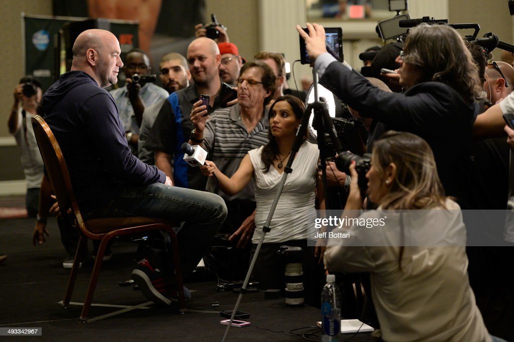 President <a gi-track='captionPersonalityLinkClicked' href=/galleries/search?phrase=Dana+White&family=editorial&specificpeople=977217 ng-click='$event.stopPropagation()'>Dana White</a> speaks to the media during the UFC 173 Ultimate Media Day at the MGM Grand Garden Arena on May 22, 2014 in Las Vegas, Nevada.