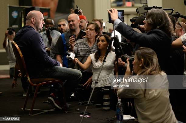 President Dana White speaks to the media during the UFC 173 Ultimate Media Day at the MGM Grand Garden Arena on May 22 2014 in Las Vegas Nevada
