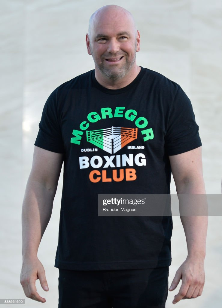 President Dana White speaks to the media during the UFC 215 & UFC 216 Title Bout Participants Las Vegas Media Day at the UFC Headquarters on August 24, 2017 in Las Vegas, Nevada.