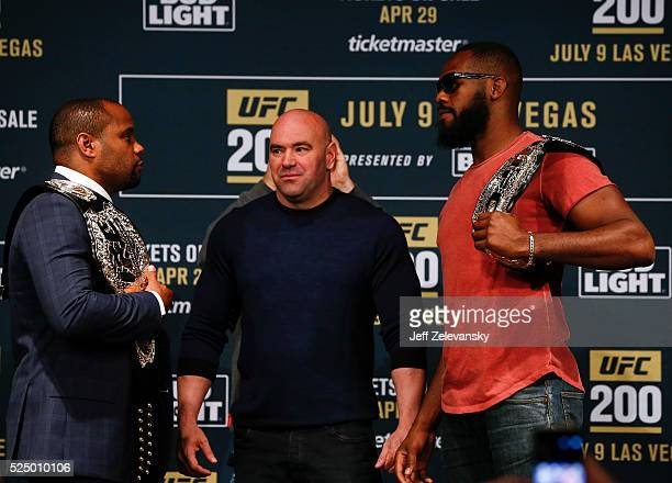 UFC president Dana White stars between Daniel Cormier and Jon Jones as they square off during a media availability for UFC 200 at Madison Square...