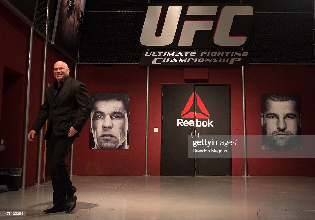 President <a gi-track='captionPersonalityLinkClicked' href=/galleries/search?phrase=Dana+White&family=editorial&specificpeople=977217 ng-click='$event.stopPropagation()'>Dana White</a> walks into the gym during the semi-finals for filming of The Ultimate Fighter Brazil: Team Nogueira vs Team Rua on March 7, 2015 in Las Vegas, Nevada.