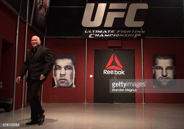 President Dana White walks into the gym during the semifinals for filming of The Ultimate Fighter Brazil Team Nogueira vs Team Rua on March 7 2015 in...