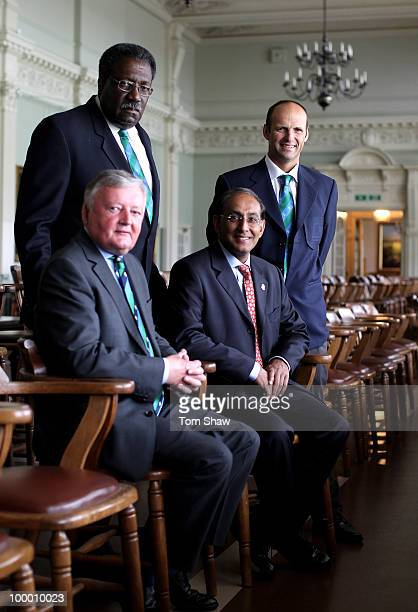 ICC President David Morgan Clive Lloyd the Chairman of the Cricket Committee Haroon Lorgat the CEO and new member Gary Kirsten pose for a picture in...