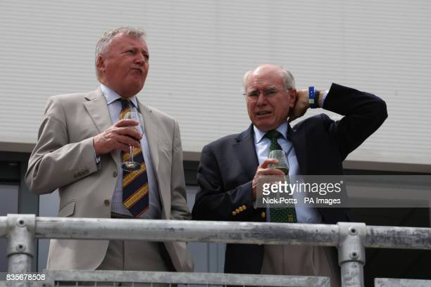 ICC President David Morgan with former Australia Prime Minster John Howard during day one of the first npower Test match at Sophia Gardens Cardiff