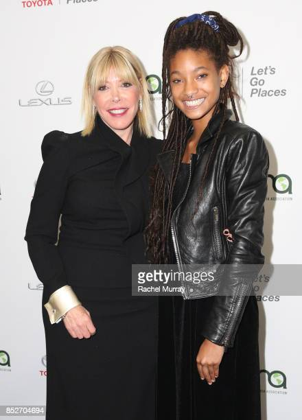 EMA president Debbie Levin and Willow Smith at the Environmental Media Association's 27th Annual EMA Awards at Barkar Hangar on September 23 2017 in...